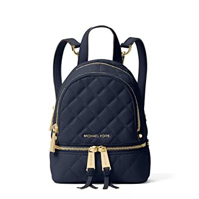 2743973ddb40 MICHAEL Michael Kors Rhea Extra-Small Quilted Leather Messenger Backpack in  Navy  Amazon.co.uk  Shoes   Bags