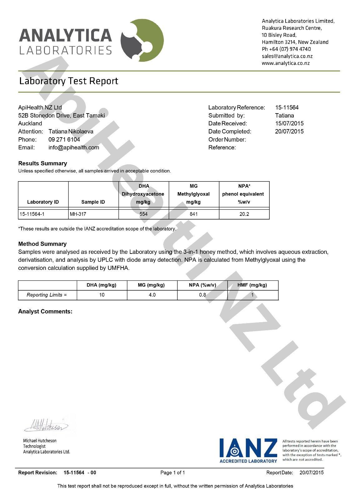 Manuka UMF 20+ (MGO ≥ 829) 1.1 lb