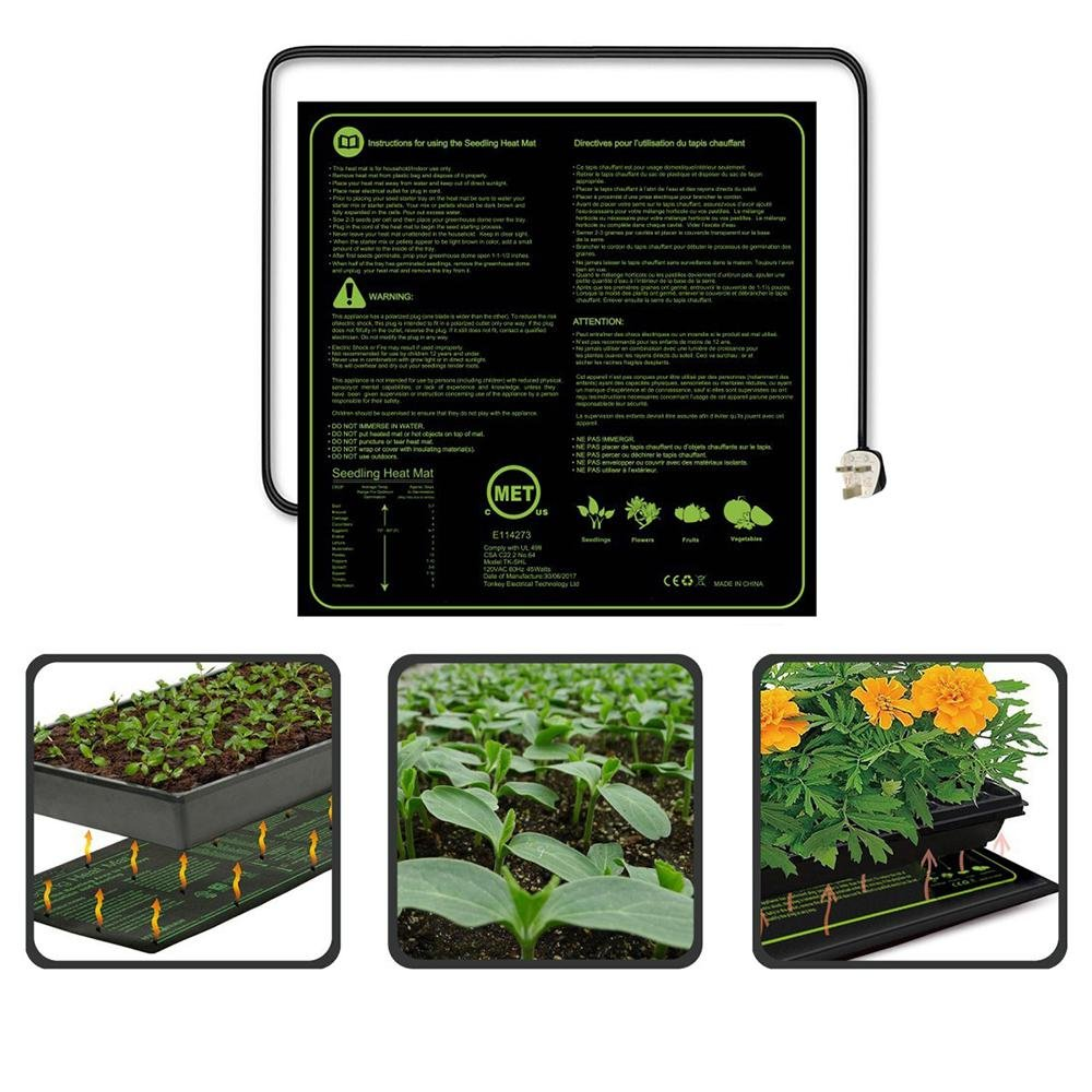 KOBWA Heating Mat CE(LVD & EMC) Listed Seedling Heating Pad Waterproof IP67 for Plant Homebrewing Pet Enclosure Terrariums(50.8x50.8 CM)