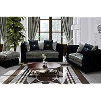 Belle Dior 3 + 2 Seater Sofa Set Crushed Velvet Fabric