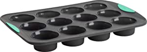 Trudeau 5115197M 12-count Structured-Silicone Muffin Pan, Grey/Mint