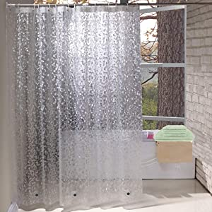 Extra Long Shower Curtain Liner 84 Inches Long,Weighted Bathroom Shower Curtain 72x84 Inch Liner with 5 Magnets, Heavy Duty, Semi Transparent, Cobblestone