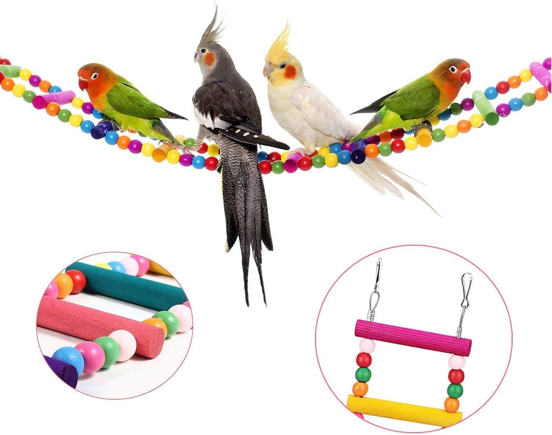 MEISO 74 x 10 cm juguetes para pájaros para loro escalera, columpio, entrenamiento arco iris puente para loros, periquitos africanos grises conures cacatúas, agapornis, ninfas.: Amazon.es: Productos para mascotas