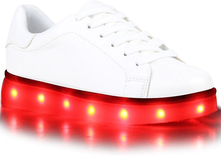 Stiefelparadies Unisex Damen Herren Kinder LED Sneaker high Übergrößen Flandell