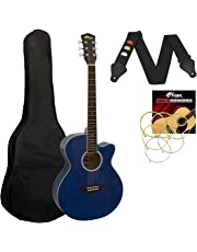 Tiger Small Body Acoustic Guitar for Beginners Guitar - Blue