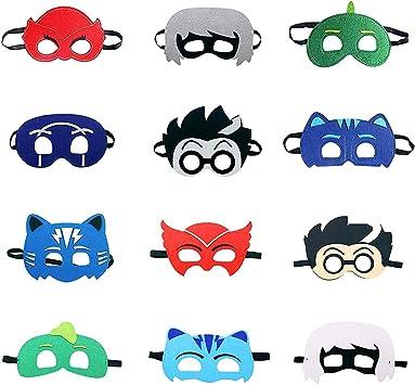 LAOZHOU Máscaras de PJ Cartoon Heroes 12 pcs. Artículos de Fiesta Máscara de Personaje de Cosplay Favores de Fiesta para niños, niñas y niños