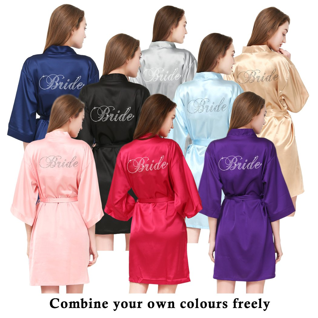 PROGULOVER Set Of Bridesmaid Robes Buy 8 Get 1 Free Rhinestone With Crystals Bridesmaid Gift Personalized Bridesmaid Satin Bride Robes Shower by PROGULOVER (Image #2)