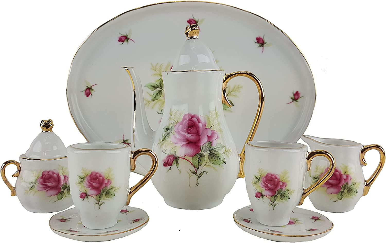 Miniature Porcelain 10 Piece Tea Set with Rose Pattern New