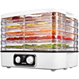 Food Dehydrator Machine Aicok, Food Preserver with Temperature Control 95-158ºF for Beef Jerky, Fruits, Vegetables & Nuts, 5 Stackable Trays with Extensible Capacity, BPA free, Dishwasher-Safe