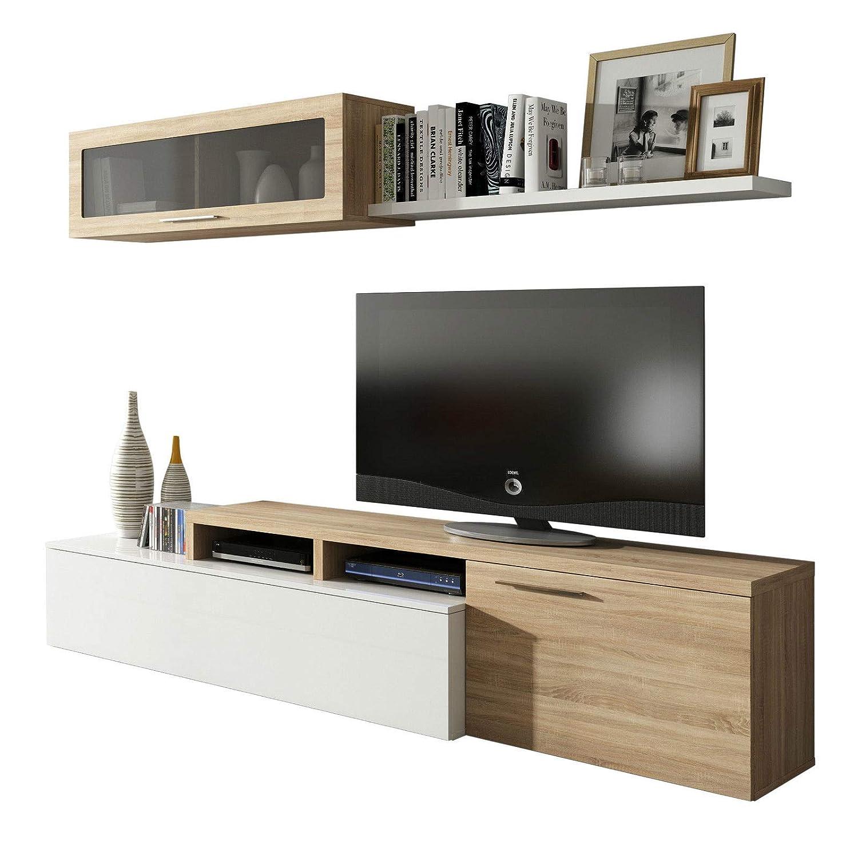 Habitdesign 016667F Waschtisch, Modernes Wohnzimmer Esszimmer, Maße: 200x 41/34x 43cm Hoch (Weiß Glanz und Eiche Canadian)