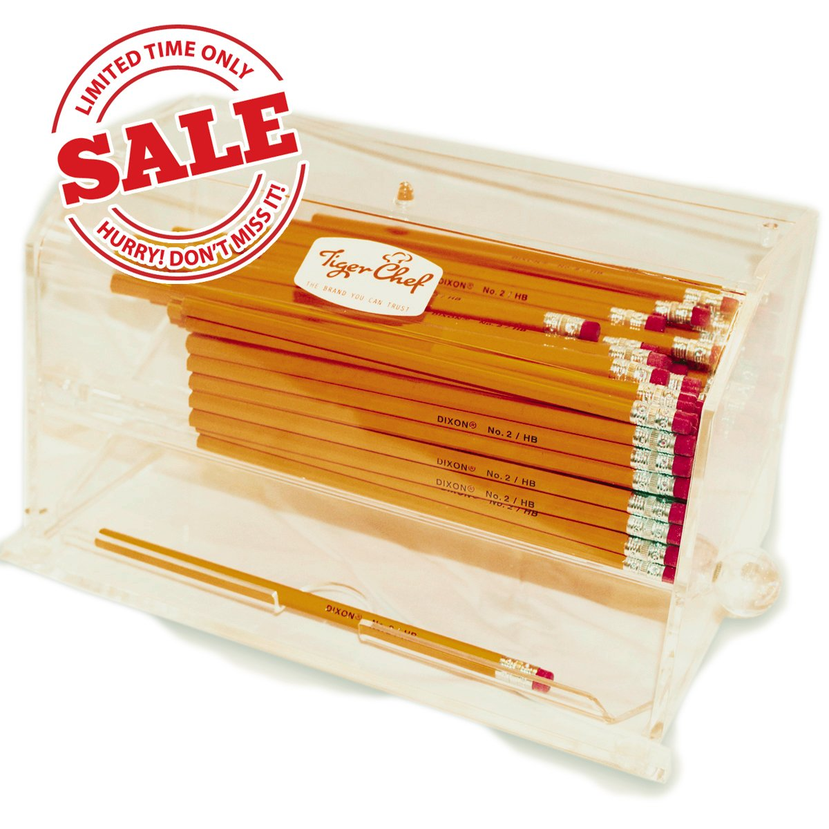 Tiger Chef Acrylic Pen and Pencil Dispenser Teachers Gifts Includes 1 D.