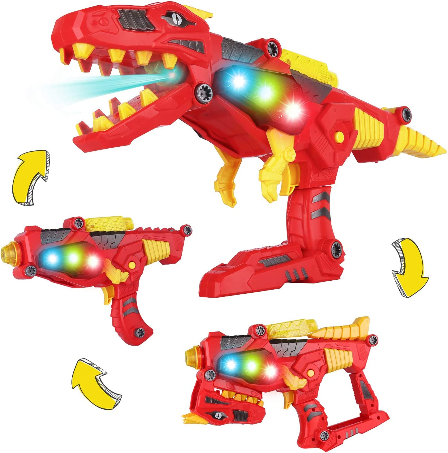 Dinosaurs Model Toy Transform Gun Toy 2 in 1 With Sound Light Kids Good Gift