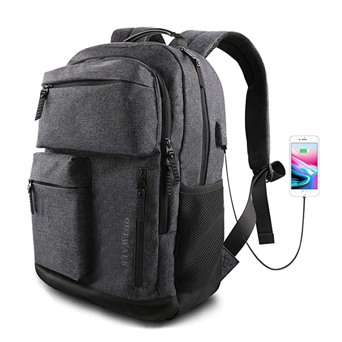 Laptop Backpack, Business Travel Backpack with USB Charging Port for Women & Men, Waterproof Fashion College High School Bookbag Computer Bag, Fits 15.6 inch Laptop and Notebook - Dark Grey