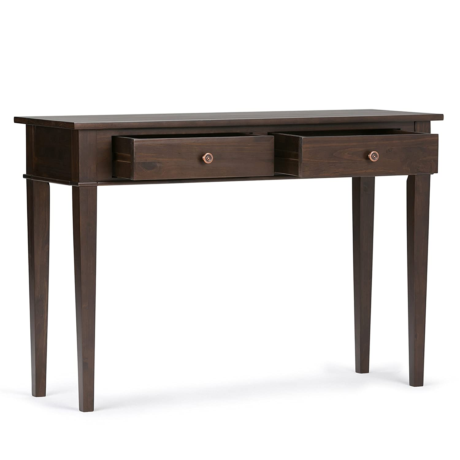 Simpli Home 3AXCCRL-02 Carlton Solid Wood 44 inch wide Contemporary Console Sofa Table in Tobacco Brown