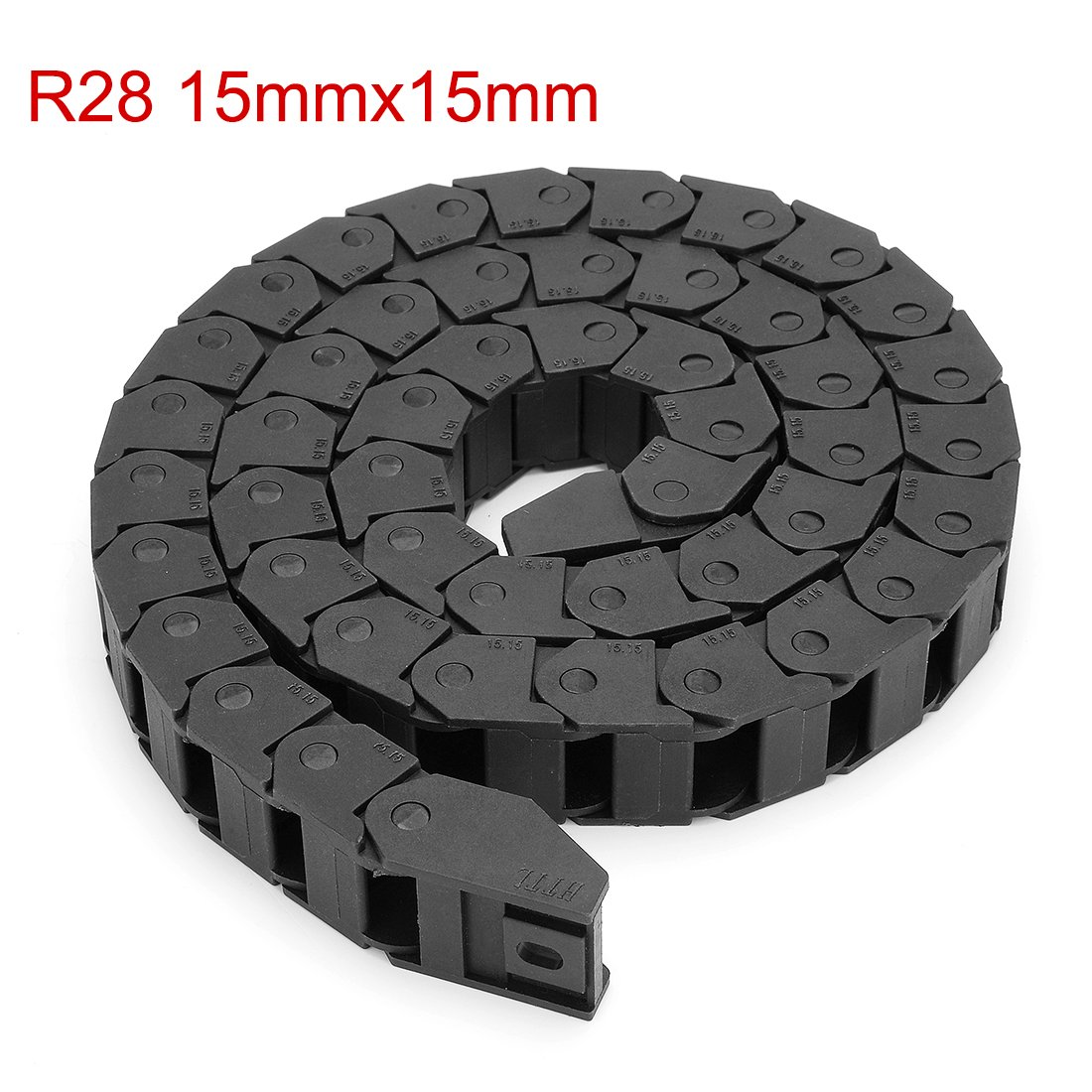 uxcell Drag Chain Cable Carrier Closed Type with End Connectors R28 10X20mm 1.5 Meter Plastic for Electrical CNC Router Machines Black