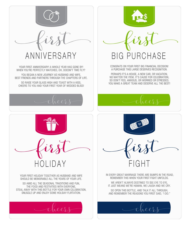 Wine Bottle Labels for bridal shower gift, wedding gift, Wedding milestones, Wedding Firsts (Husband & Wife) by Sblabels (Image #2)