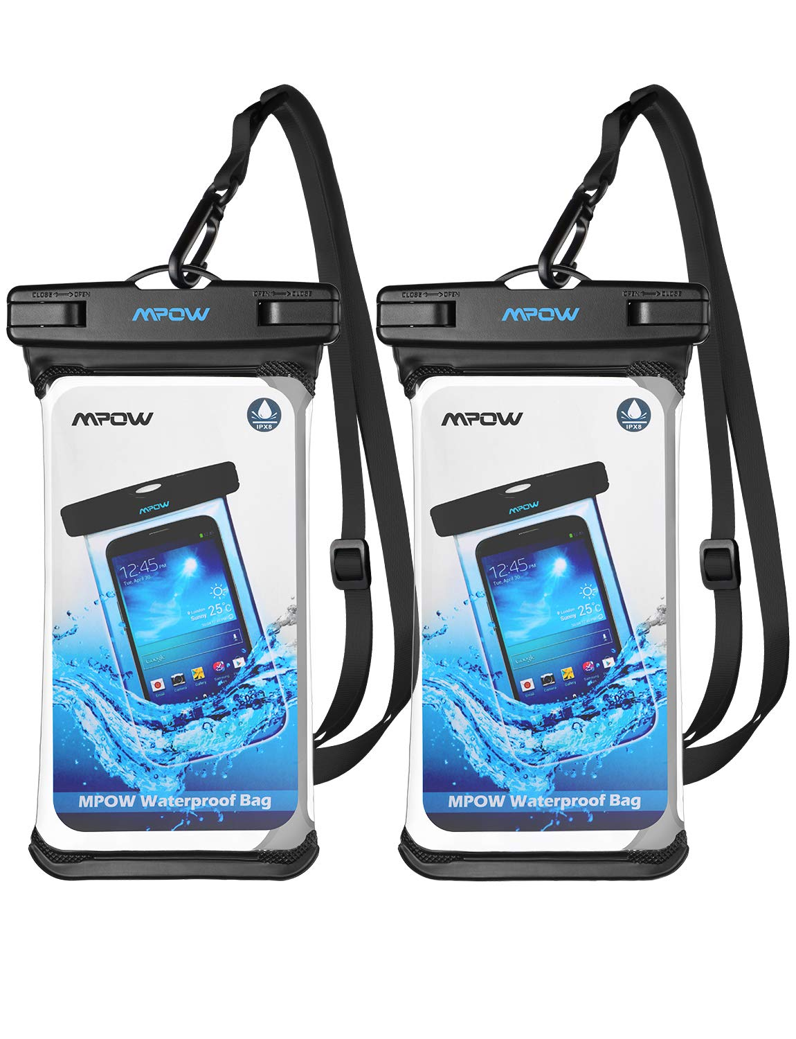 Mpow Waterproof Case, Full Transparency Waterproof Cellphone Dry Bag IPX8 Universal Phone Pouch Compatible for iPhone Xs Max/XS/XR/X/8, Galaxy S10/S9, Note 9, Google up to 6.8 Inches (Black+Black) by Mpow