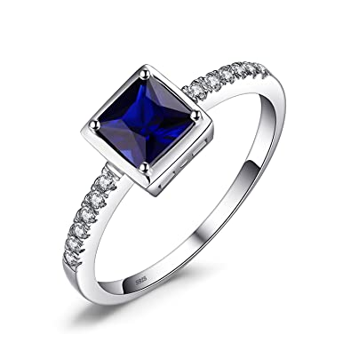 JewelryPalace Women's Fasion Square Cut Gemstone Created Blue Sapphire Engagement 925 Sterling Silver Ring mq8jlsqF