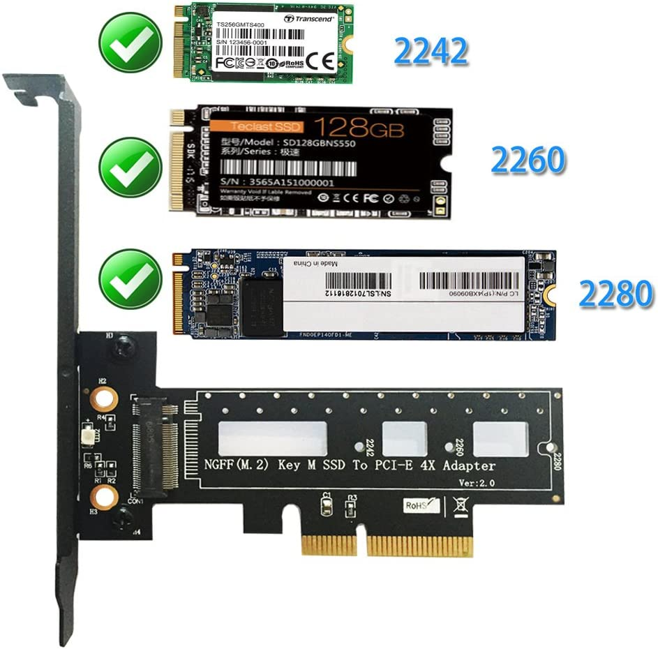 XT-XINTE Key M.2 NVMe SSD NGFF Type to PCIE PCI-E PCI Express 4X Adapter Card with Heatsink Computer Adapter for PC