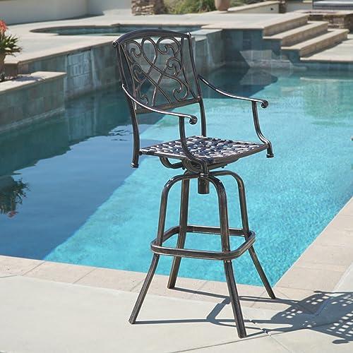 Reviewed: BELLEZE Outdoor Cast Aluminum Swivel Bar Stool w/Footrest Patio Furniture