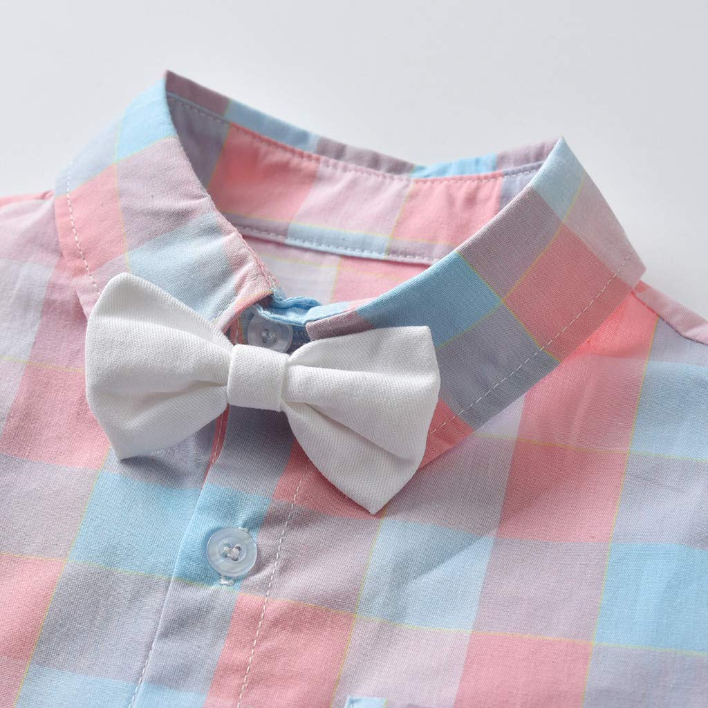 Fartido Baby Boys Sunsuit Kids Outfits Short-Sleeved Plaid Printed Bow Tie Tops+Shorts+Strap