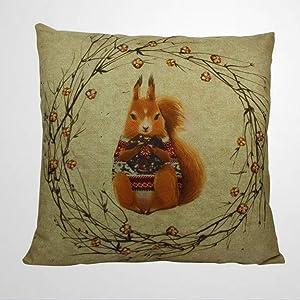 "DONL9BAUER Chipmunk Pillow Case Squirrel Vintage Decorative Square Throw Pillow Covers Cabin Decor Ideas Farmhouse Cushion Cover for Sofa Couch Home Decor 18""x18"""