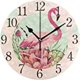 SUABO Wall Clock Arabic Numerals Design Hello Flamingos Round Wall Clock for Living Room Bathroom Home
