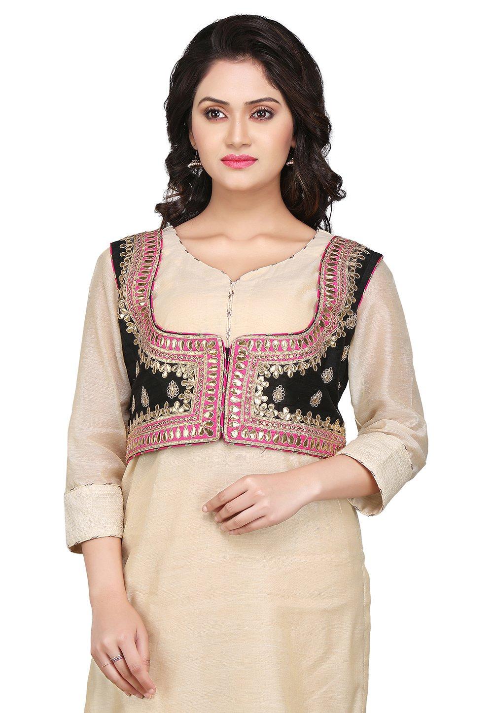 Utsav Fashion Gota Patti Dupion Silk Jacket in Black by Utsav Fashion
