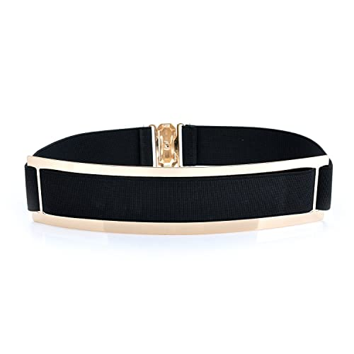 lureme®women barra de metal de ancho de cintura estiramiento elástico cintura cinturón de la moda de(13000007)