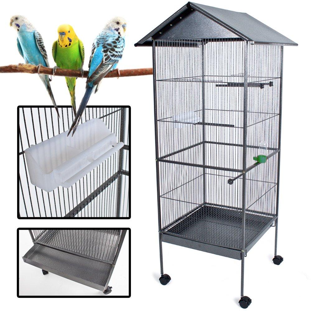 TecTake XXL Large bird aviary bird cage silver anthracite 162cm high ...