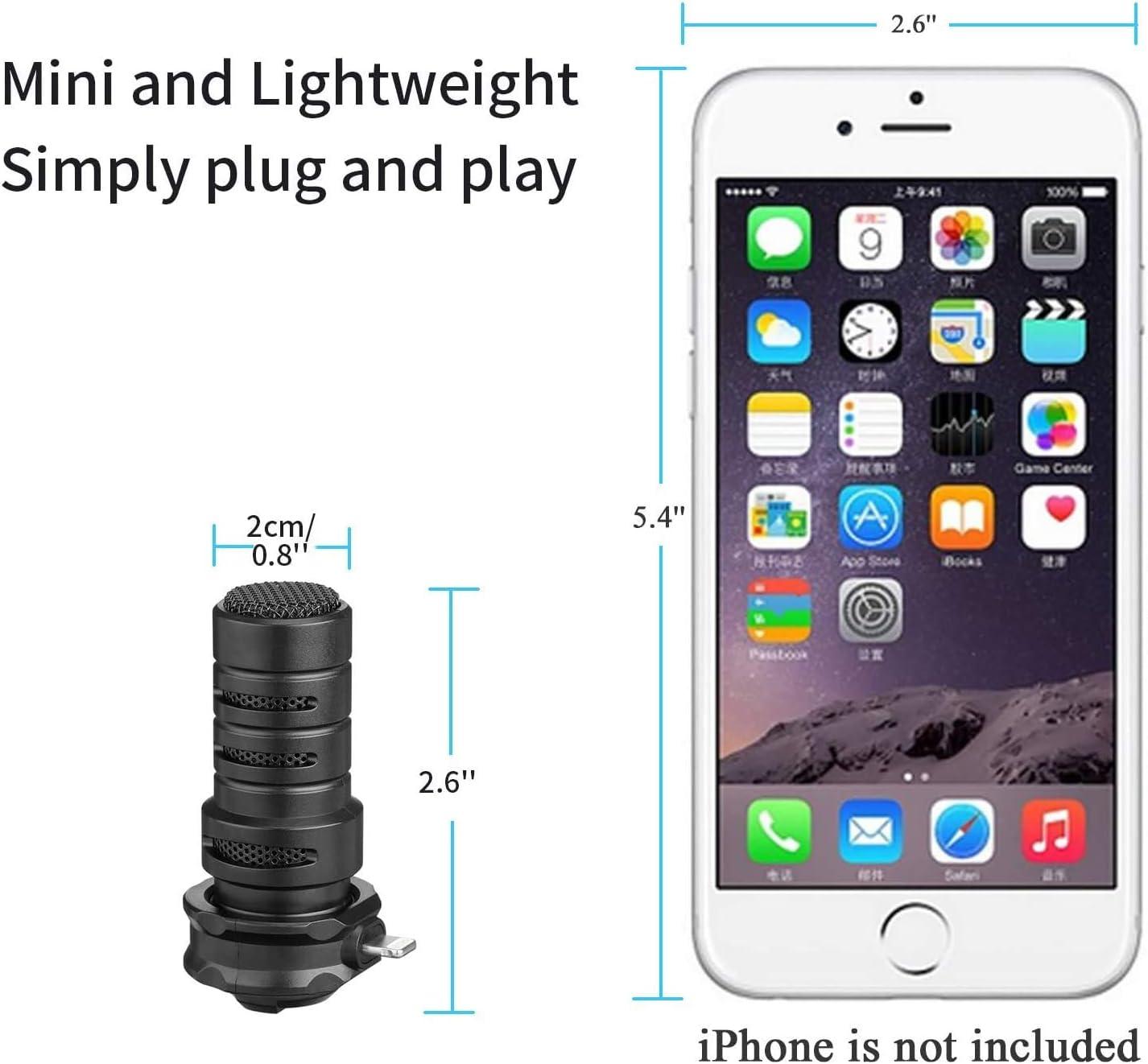 iPhone Lightning Plug & Play Microphone,BOYA DM200 Cardioid ...