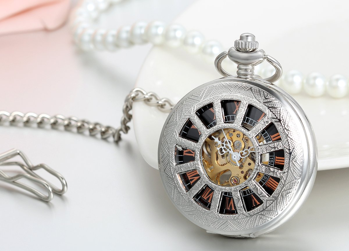 JewelryWe Deluxe Wheel Style Pocket Watch, Mechanical Movement Hand Wind Pocket Watch, Half Hunter Watch with Chain by Jewelrywe (Image #3)
