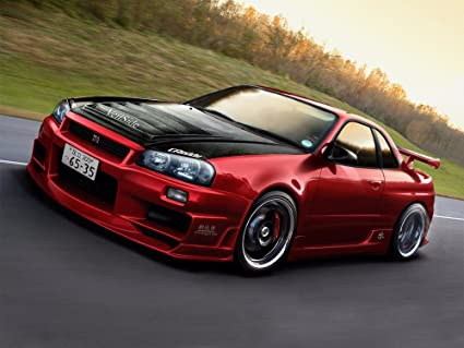 NISSAN SKYLINE R34 RED SPORTS RALLY CAR GIANT PICTURE ART PRINT POSTER  MR451 32x24u0026quot;