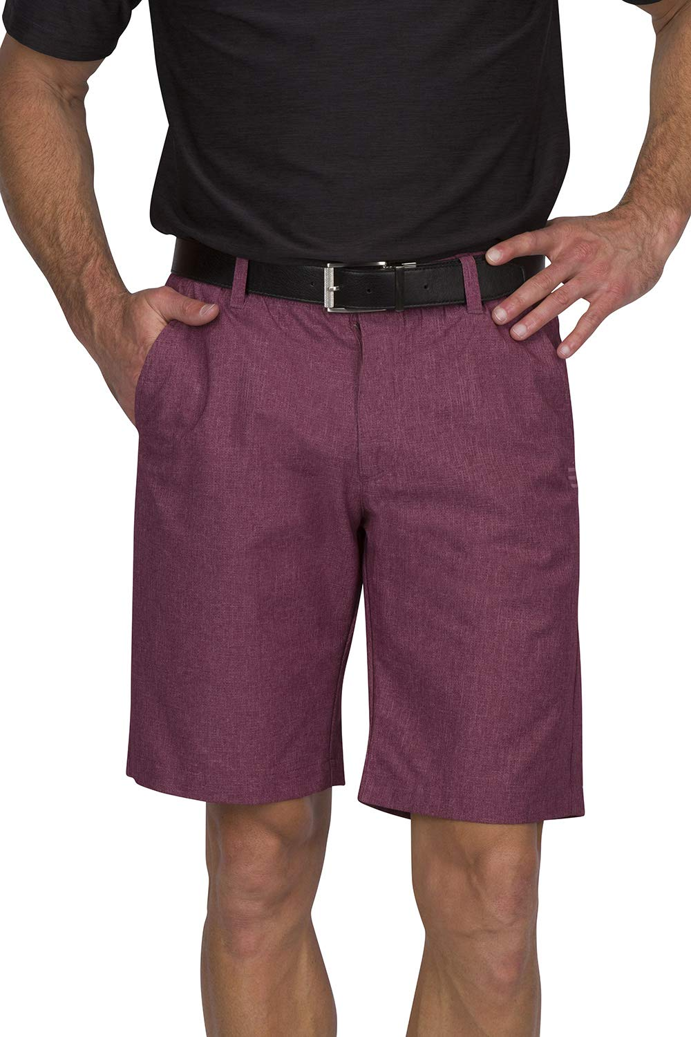 Dry Fit Golf Shorts for Men - Casual Mens Shorts Moisture Wicking - Men's Chino Shorts with Elastic Waistband Maroon by Three Sixty Six