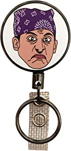 Balanced Co. Michael Scott Heavy Duty Retractable Badge Holder Reel, Metal ID Badge Holder with Belt Clip Key Ring for Name Card Keychain (Prison Mike)