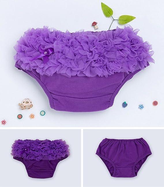 YK&Loving - Bragas Bloomers Bebé Pañal Cubiertas de Algodón con Volantes Encajes Pantalones Cortos Colmena para Niñas - S - Púrpura: Amazon.es: Bebé