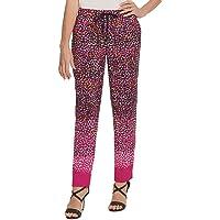 DKNY Womens Black Animal Print Straight leg Pants AU Size:6