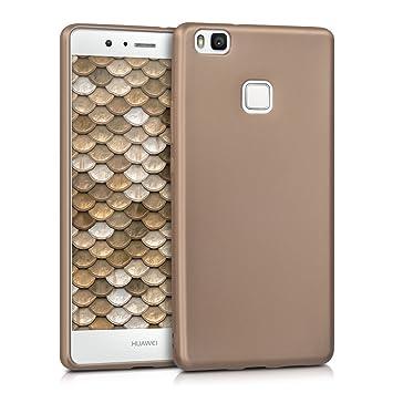 kwmobile Funda para Huawei P9 Lite - Carcasa para móvil en [TPU Silicona] - Protector [Trasero] en [Oro Metalizado]