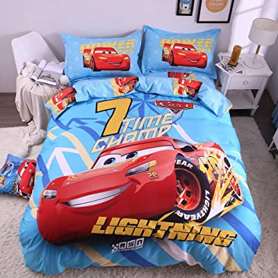 Casa 100% Cotton Kids Bedding Set Boys Lightning McQueen Blue Duvet Cover and Pillow case and Fitted Sheet,3 Pieces,Twin: Home & Kitchen