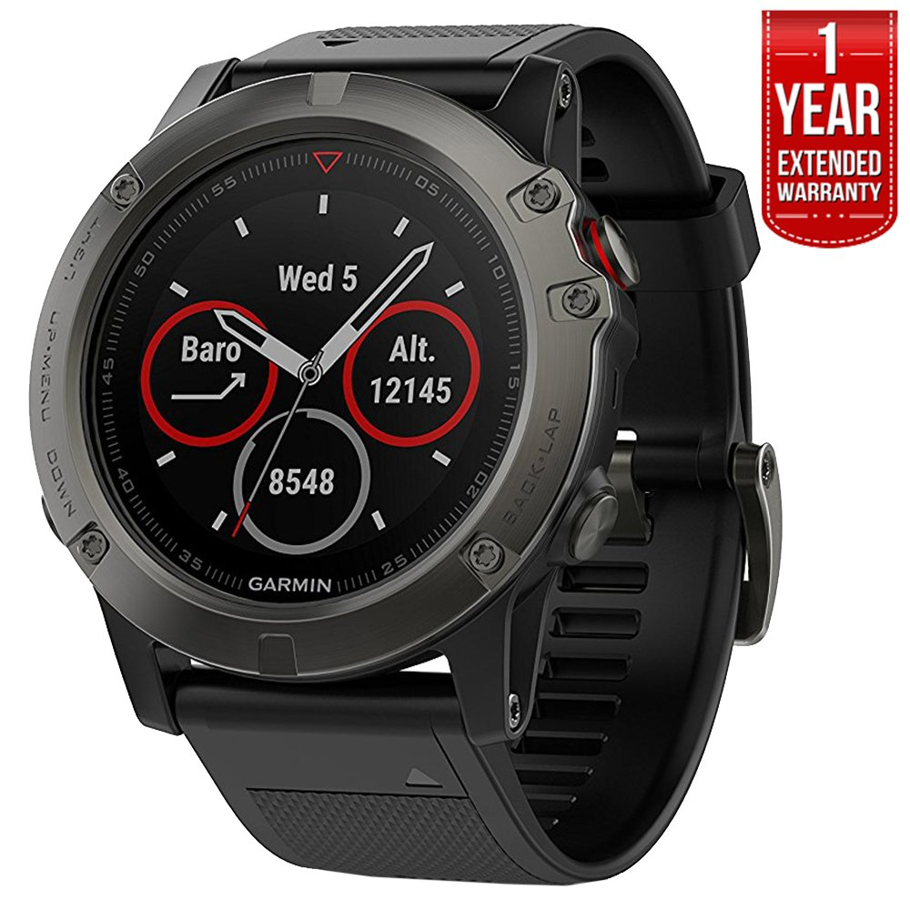 Garmin Fenix 5X Sapphire Multisport 51mm GPS Watch – Slate Gray with Black Band 010-01733-00 1 Year Extended Warranty