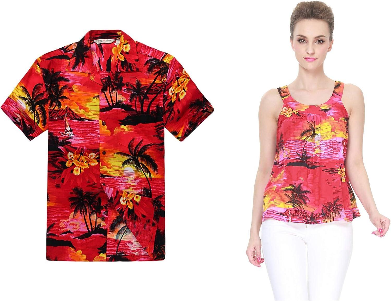 Couple Matching Hawaiian Luau Outfit Aloha Shirt and Tank Top in Red Sunset Men L Women L