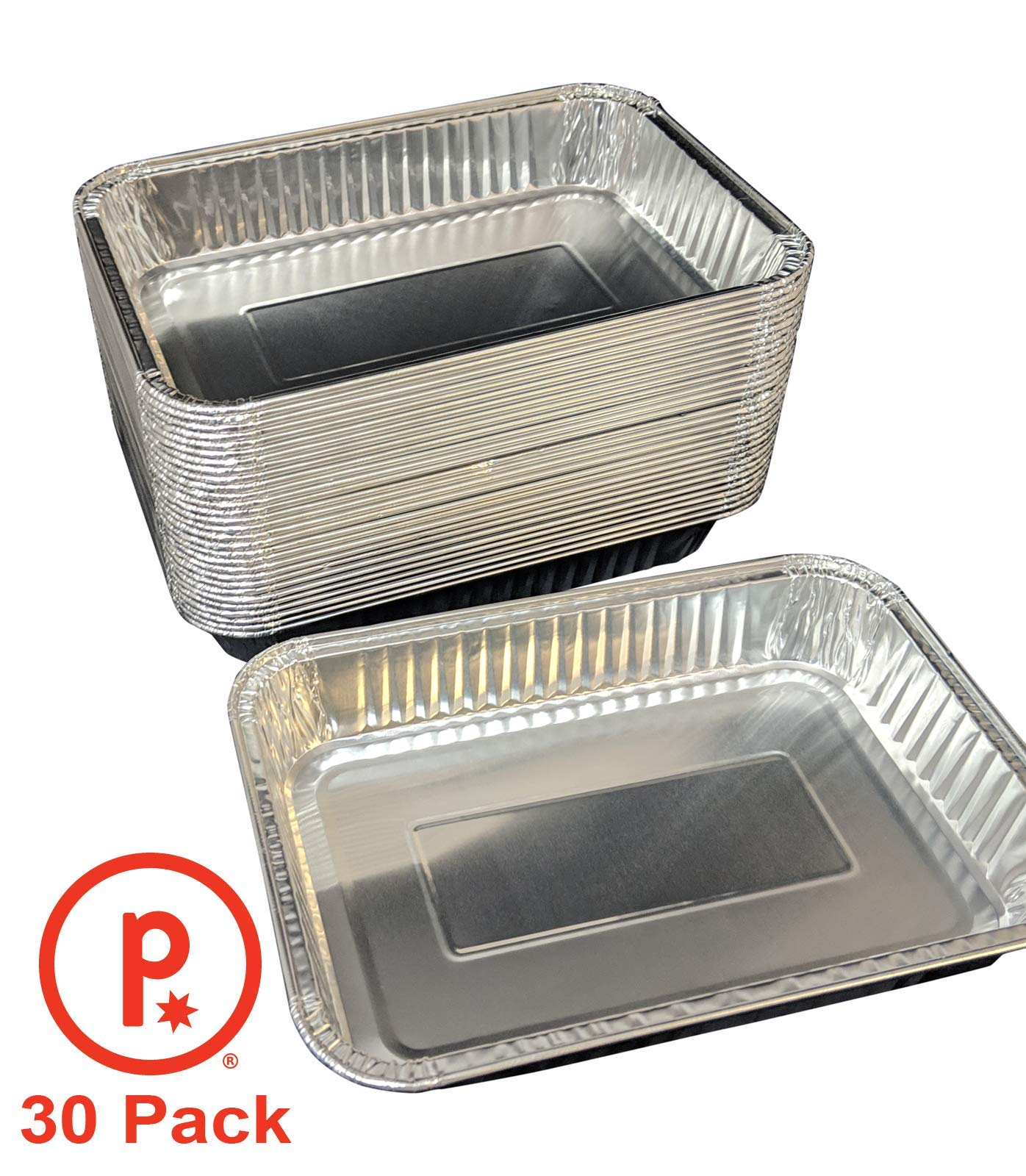 pinkada Aluminum Half Size Deep Foil Pan 9 x 13 Safe for use in Freezer, Oven, and steam Table (30)