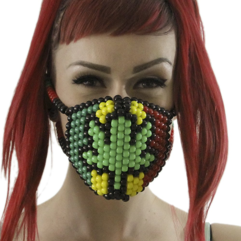 420 Rasta Marijuana Kandi Mask Weed Green White Surgical by Kandi Gear by Kandi Gear (Image #2)