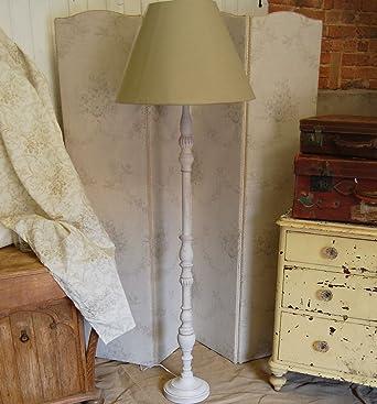 French shabby chic white washed wood floor standing lamp with lamp french shabby chic white washed wood floor standing lamp with lamp shade amazon lighting aloadofball Images