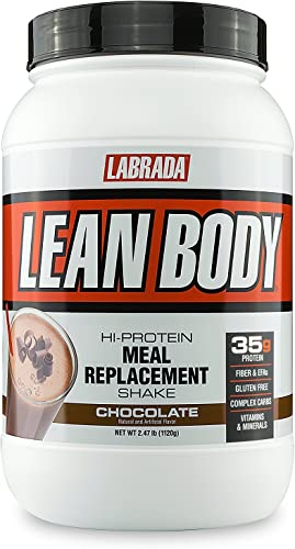 LABRADA Nutrition Lean Body High Protein Meal Replacement Shake, Whey Protein Powder for Weight Loss and Muscle Growth, Chocolate, 2.47LB Tub