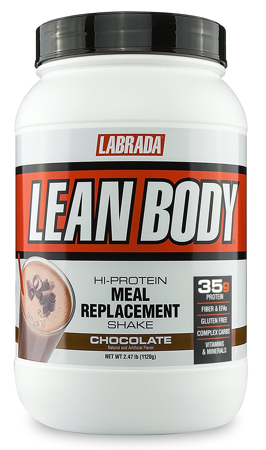 LABRADA Nutrition – Lean Body High Protein Meal Replacement Shake, Whey Protein Powder for Weight Loss and Muscle Growth, Chocolate, 2.47LB Tub