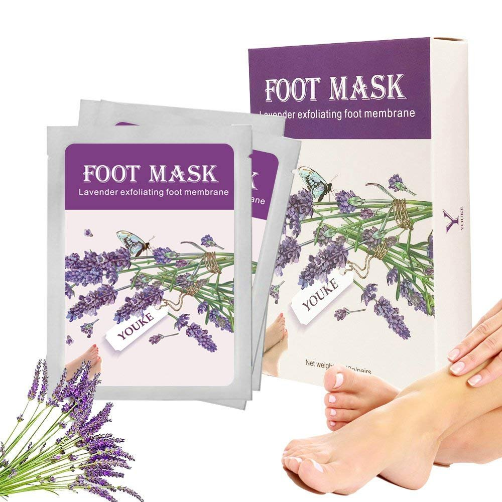 Lavender Exfoliating Foot Peeling Mask 2 Pairs Scented Peel Booties for Callus Dead Skin, Get Soft Touch Smooth Feet in 1 Week Youke