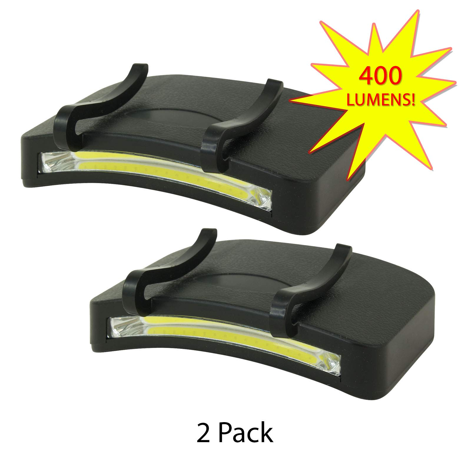 2 PACK - 400 Lumen Hi Mode / 180 Lumen Low Power Mode (2 X Cap Lights > 2 X Power & 2 X Bright) COB LED Clip On Cap Light DOUBLE BRIGHT (100% MFG Guarantee) (Black) by Apollo's Products (Image #1)