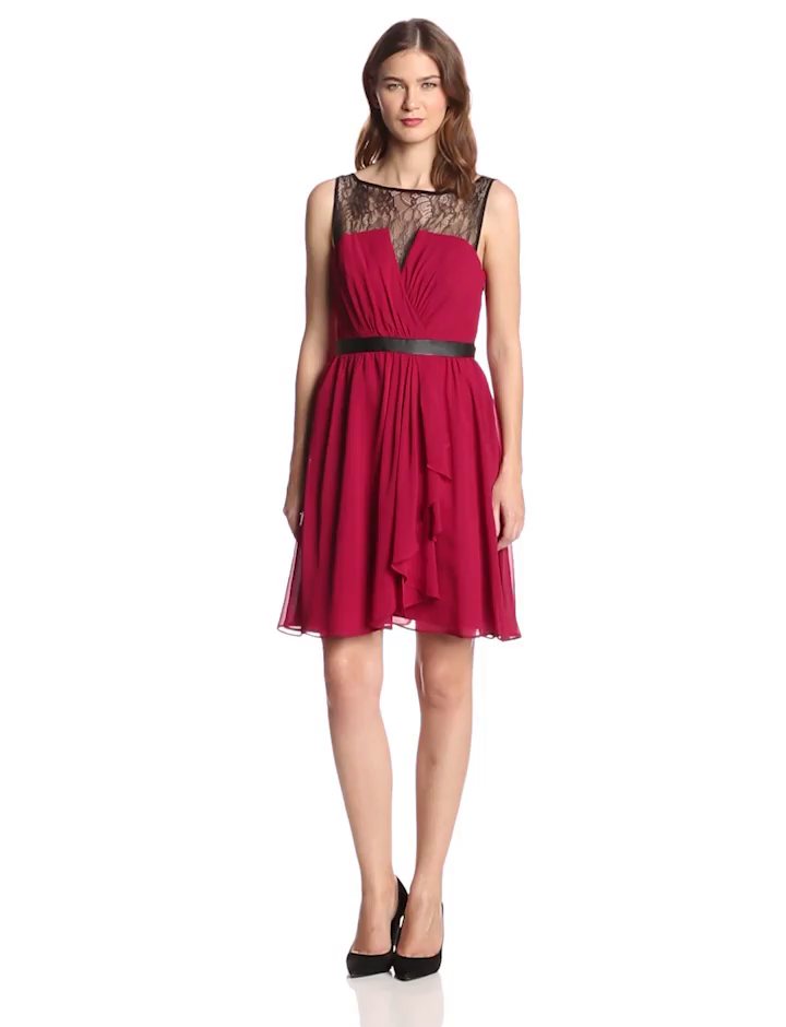 Hailey by Adrianna Papell Women's Illusion Lace V Neck Dress, Rouge, 2