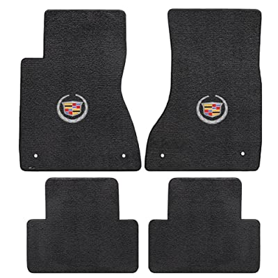 2003-2007 Cadillac CTS & CTS-V Black Velourtex Front & Rear Floor Mats - Crest & Wreath Logo